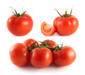 Red tomato collection on white background set Stock Photo