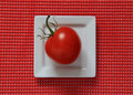 Red tomato side view of a on a white square plate Stock Photo