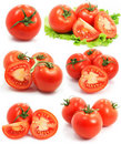 Red tomato vegetable fruits set isolated Royalty Free Stock Photo