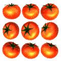 Red tomato with water droplets from variety foods and dishes se series Stock Images
