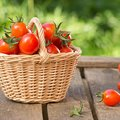 Red tomatoes in wicker basket on wooden table. Royalty Free Stock Photo