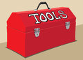 Red toolbox metal with handle Stock Images