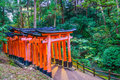 Red Tori Gate at Fushimi Inari Shrine Temple in Kyoto, Japan. Royalty Free Stock Photo