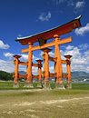 Red torii in miyajima Stock Images