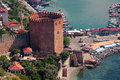 Red tower in alanya turkey named kizil kule Royalty Free Stock Photography