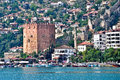 Red tower the historical kızıl kule in the turkish city of alanya Stock Photos