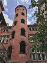 Red Traboule in Lyon, France, with blue sky Royalty Free Stock Photo