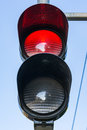 Red Traffic Light Illuminated Stop Daytime Public Safety Royalty Free Stock Photo
