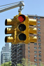 Red Traffic Light in Manhattan Royalty Free Stock Images