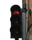 Red traffic lights for bicycle along the cycle track in city Stock Photos