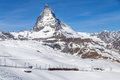 Red Train in front of Matterhorn Royalty Free Stock Photo