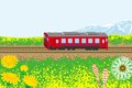Red train in spring nature illustration of Royalty Free Stock Photo