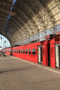 Red train on a station in moscow russia Royalty Free Stock Image