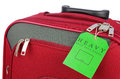 Red travel case and label Royalty Free Stock Images