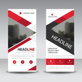Red triangle Business Roll Up Banner flat design template ,Abstract Geometric banner template Vector illustration set,