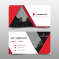 Red triangle corporate business card, name card template ,horizontal simple clean layout design template