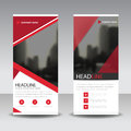 Red triangle roll up business brochure flyer banner design , cover presentation abstract geometric background, modern publication