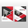 Red triangle Vector annual report Leaflet Brochure Flyer template design, book cover layout design, abstract business presentation Royalty Free Stock Photo