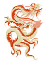 Red tribal chinese dragon tattoo vector illustration Royalty Free Stock Photo