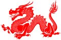 Red tribal dragon tattoo vector illustration Royalty Free Stock Photo
