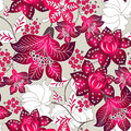 Red tropical floral pattern. Royalty Free Stock Photos