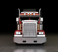 Red truck bright lights night Royalty Free Stock Images