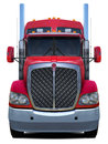 Red truck Kenworth t660 front view.