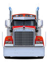 Red truck Kenworth w900 front view. Royalty Free Stock Photo