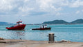 Red tug boats in Songkhla lagoon Royalty Free Stock Photo
