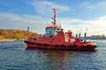 Red Tug Seascape, in the harbor Royalty Free Stock Photo