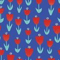 Red tulip flowers illustration seamless vector background Abstract floral motif for surface design. Retro spring pattern with Royalty Free Stock Photo