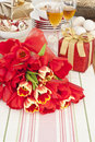 Red tulips with gift box Stock Photo