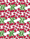 Red tulips seamless floral pattern on white  Stock Photos