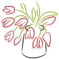 Red tulips in vase vector hand made picture of Royalty Free Stock Photos