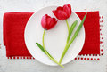 Red tulips on white plate Royalty Free Stock Photo