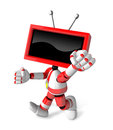 A red tv character and a boxing play create d television robot series Royalty Free Stock Photography