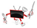 Red tv character chef in both hands to hold a fork and knife go on foot walking create d television robot series Stock Photos