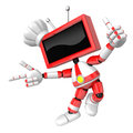 Red tv character are kindly guidance create d television robot series Royalty Free Stock Photo