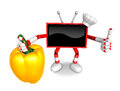 Red tv chef character right hand sweet pepper the best gesture of is taking create d television robot series Stock Photo