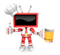 Red tv chef mascot the left hand best gesture and right hand is holding a beer mug create d television robot series Stock Images
