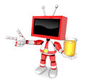 Red tv chef mascot the right hand guides and the left hand is ho holding a juice create d television robot series Royalty Free Stock Photos