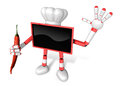Red tv chef mascot the right hand guides and the left hand is ho holding a pepper create d television robot series Royalty Free Stock Photos