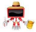 Red tv farmer mascot the left hand best gesture and right hand i is holding a beer mug create d television robot series Royalty Free Stock Photography