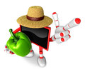 Red tv farmer mascot the right hand guides and the left hand is holding a sweet pepper create d television robot series Royalty Free Stock Photos