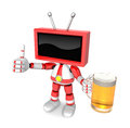 Red tv mascot the left hand best gesture and right hand is holdi holding a beer mug create d television robot series Royalty Free Stock Photography