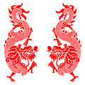 Red twins china dragon vector art design Royalty Free Stock Photo