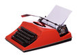 Red typewriter with paper on white Stock Image