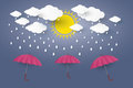 Red umbrella in blue sky with rain Paper art Style. Illusa Royalty Free Stock Photo