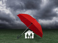 Red umbrella covering home and family under rain, insurance