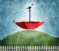 Red umbrella on hill abstract Royalty Free Stock Photo